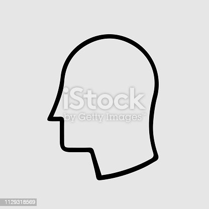 Head in profile vector icon eps 10. Simple isolated outline pictogram.