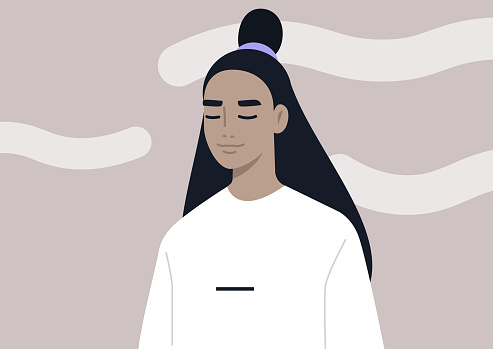 Head in the clouds, a portrait of a young female character daydreaming, mindfulness, meditation, and mental health balance
