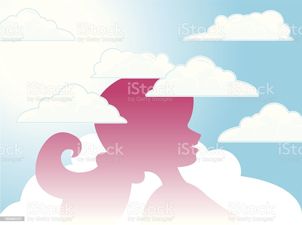 Head in the Clouds - Girl Cartoon royalty-free head in the clouds girl cartoon stock vector art & more images of careless