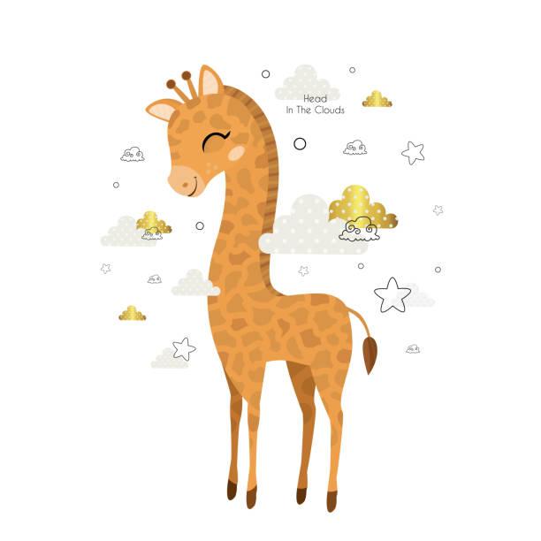 den kopf in den wolken. - giraffenhumor stock-grafiken, -clipart, -cartoons und -symbole