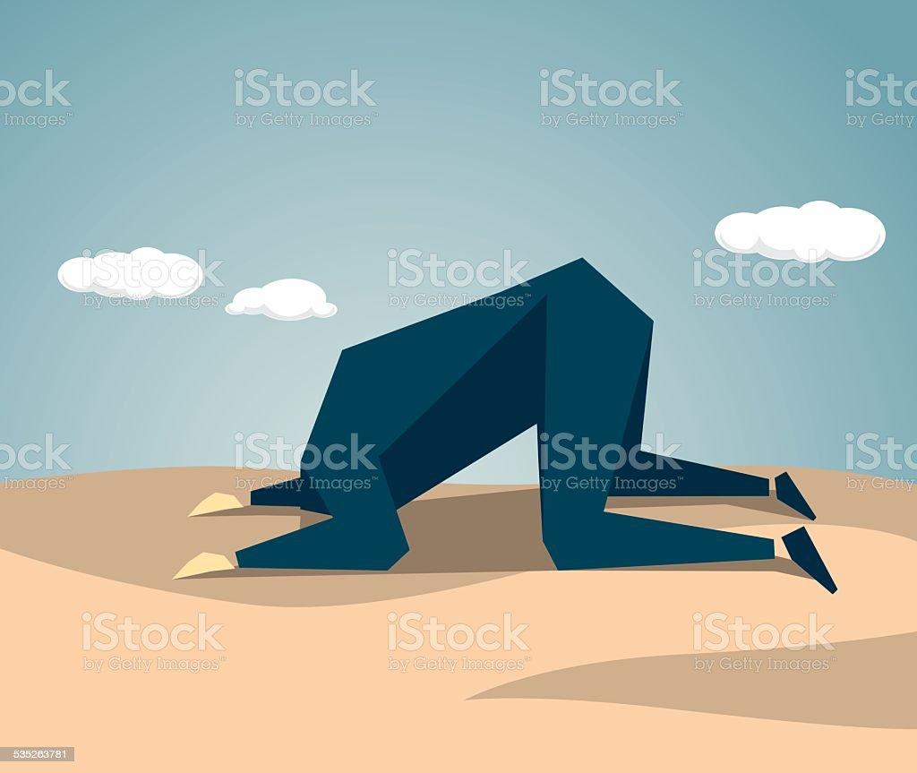 Cabeça enterrada na areia - ilustração de arte em vetor
