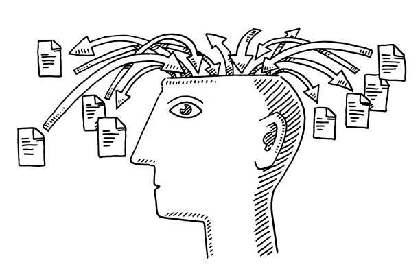 Informações de cabeça aprendendo o conceito de desenho - ilustração de arte em vetor