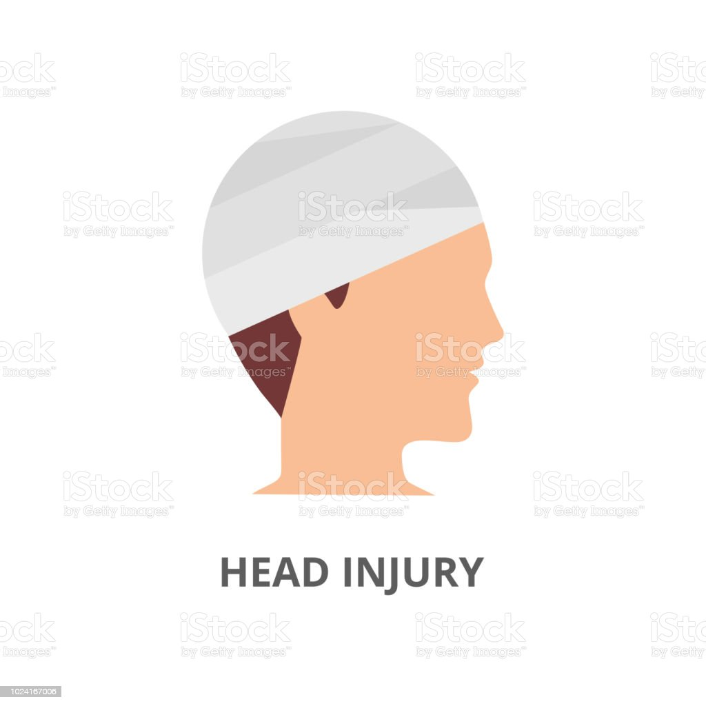 Head injury flat vector icon