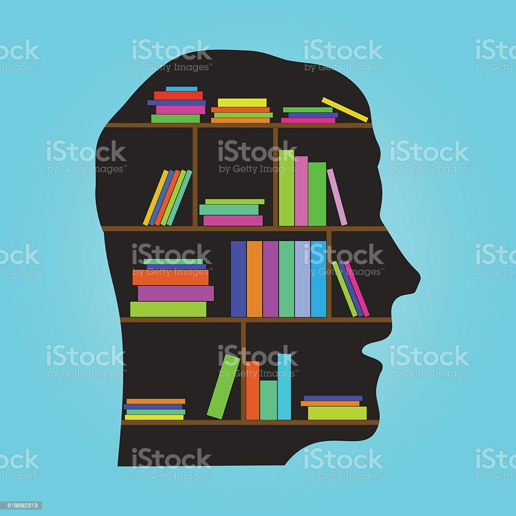 Head Library - flat concept vector illustration vector art illustration