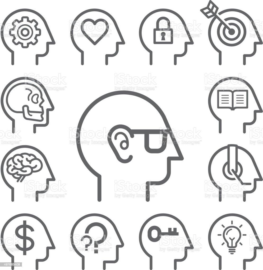 Head line icons set. vector art illustration