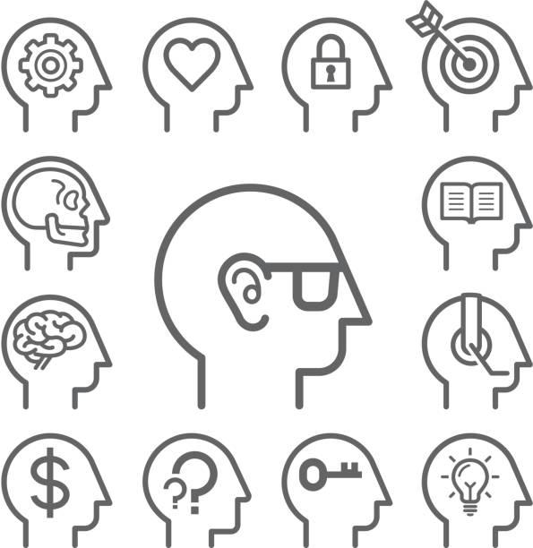 stockillustraties, clipart, cartoons en iconen met head line icons set. - menselijk hoofd
