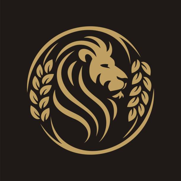 head lion circle grain - lion stock illustrations, clip art, cartoons, & icons