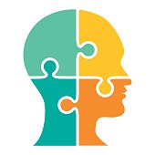 istock Head made of puzzle four pieces - VECTOR 484720442
