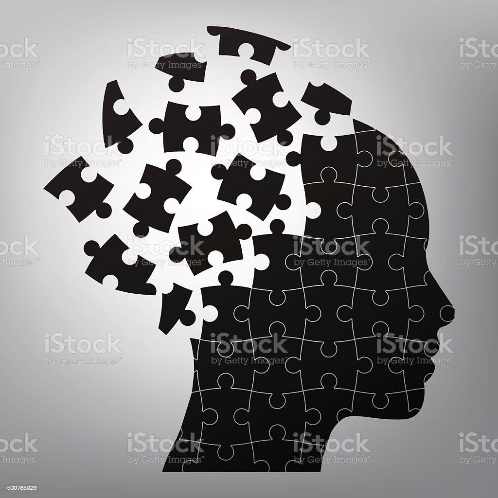head man puzzles strategy. vector art illustration