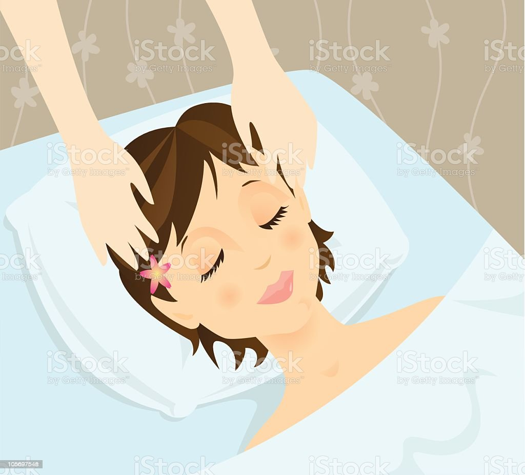 Head Massage vector art illustration