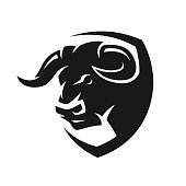 Head of a bull, monochrome symbol.