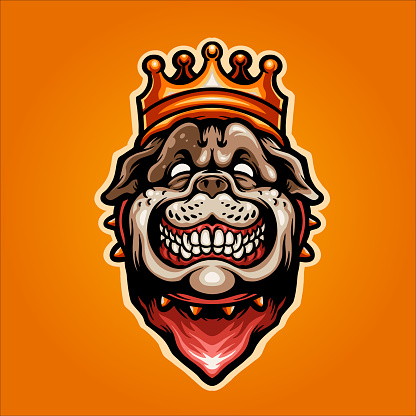 Head Of A BullDog In The Crown Illustration  for your work merchandise clothing line, stickers and poster, greeting cards advertising business company or brands