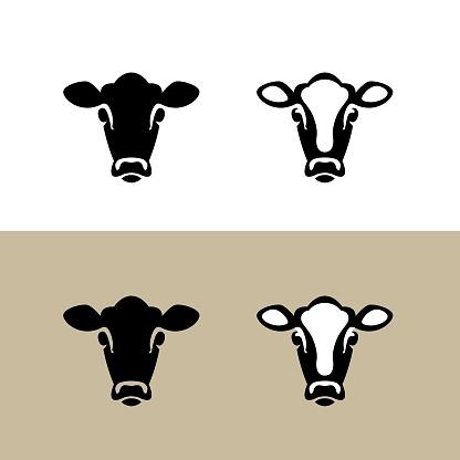 Head of a Cow. Vector icon.