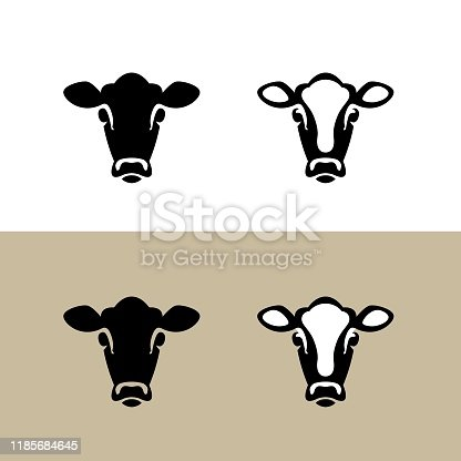 istock Head of a Cow. Vector icon. 1185684645