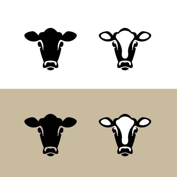 ilustrações, clipart, desenhos animados e ícones de cabeça de uma vaca. ícone vetor. - cabeça