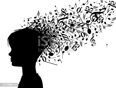 Vector Illustration representing a flux of music learning of a head of a creative musician child