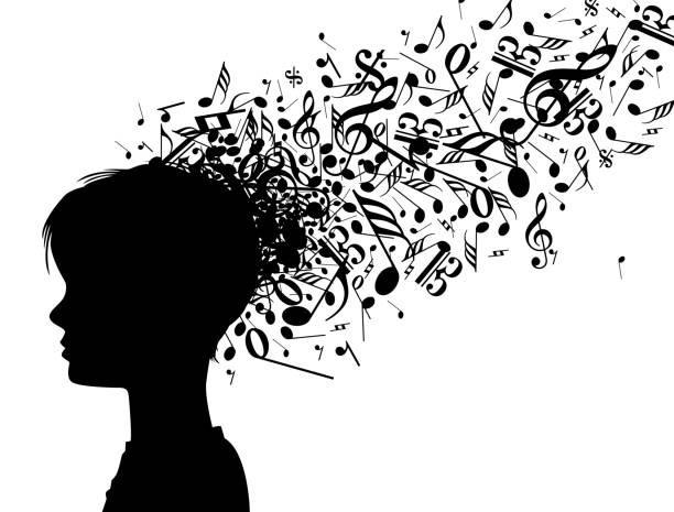 head of a creative musician child - muzyk stock illustrations