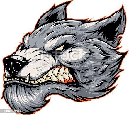 istock Head of a fierce werewolf wolf 1086897236