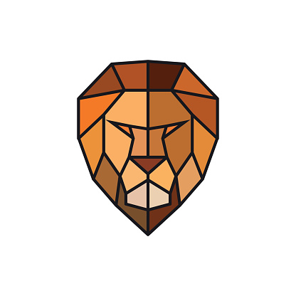 Head of a Lion. Logo template for business. Abstract head. Colorful polygonal style. Vector illustration.