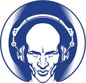 Head of a Man with headphones. Ready for vinyl cutting. One touch change color.