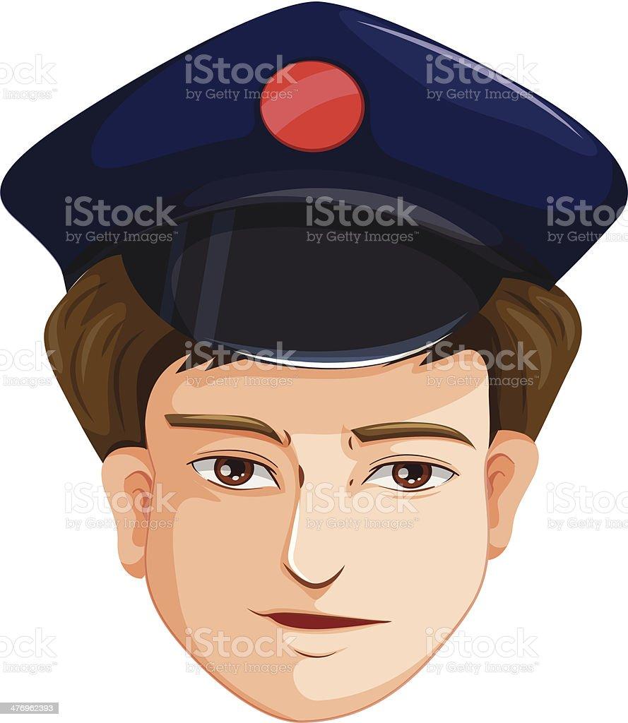 head of a police agent vector art illustration