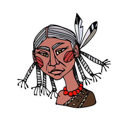 head of an indian old cute grandmother with puma eyes & pigtails, avatar