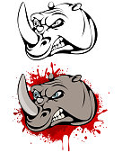 Vector illustration of head of angry rhinoceros
