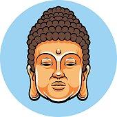 Head of Buddha. Vector flat cartoon illustration