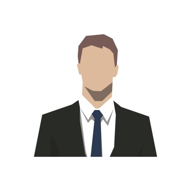 사업가의 머리, 추상적인 기하학적 아바타 얼굴 아이콘입니다. 고립 된 벡터 평면 디자인 일러스트 - 수트 stock illustrations