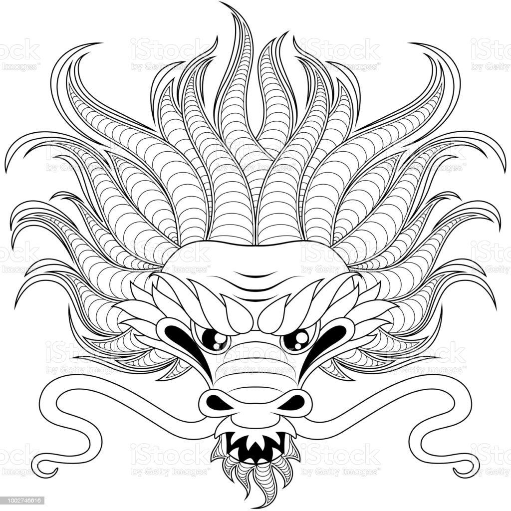 Leiter Des Chinesischen Drachen Stilgerecht Zentangle Fur Tattoo