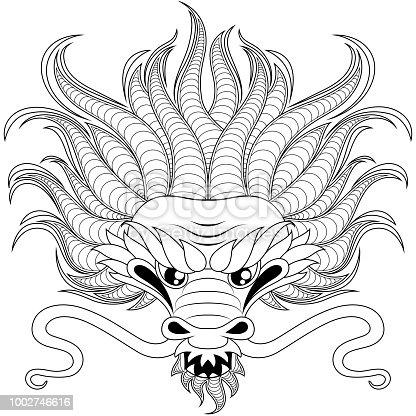 Ilustración de Cabeza De Dragón Chino De Estilo Zentangle Para Tatoo ...