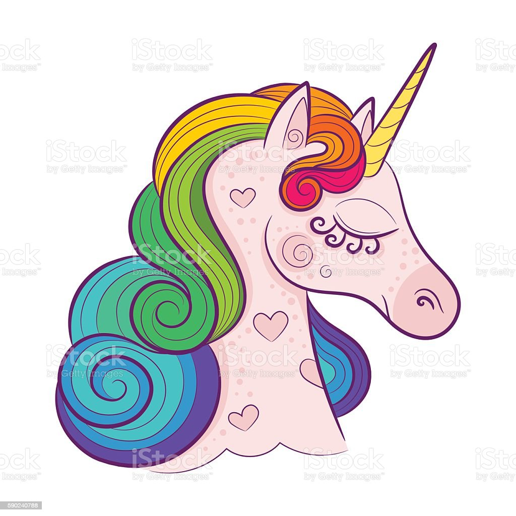 Head of cute white unicorn with rainbow mane isolated vector art illustration