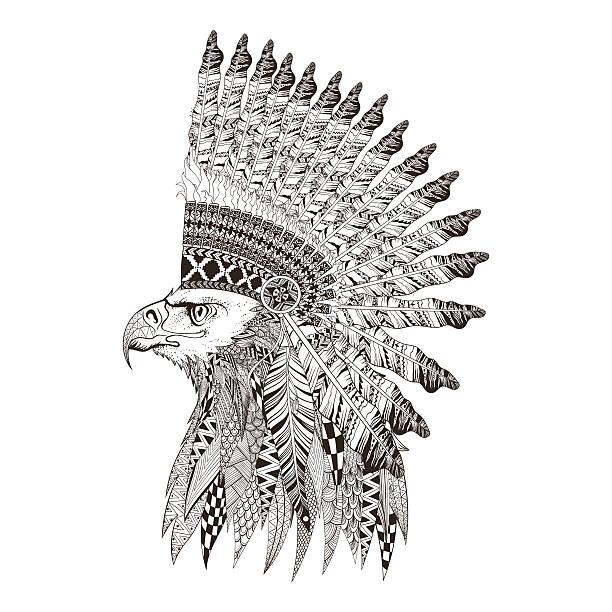 zentangle ヘッドのイーグルに図案化フェザー戦争 bannet ます。 - 鳥のタトゥー点のイラスト素材/クリップアート素材/マンガ素材/アイコン素材