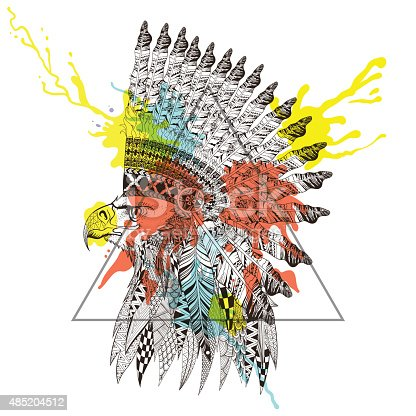Head of eagle in feathered war bonnet