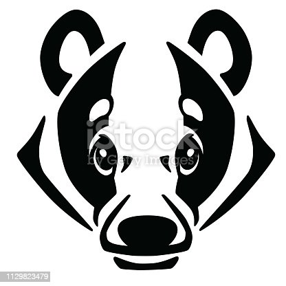 head of European badger in front view . Logo, icon,emblem, tattoo . Black and white vector illustration