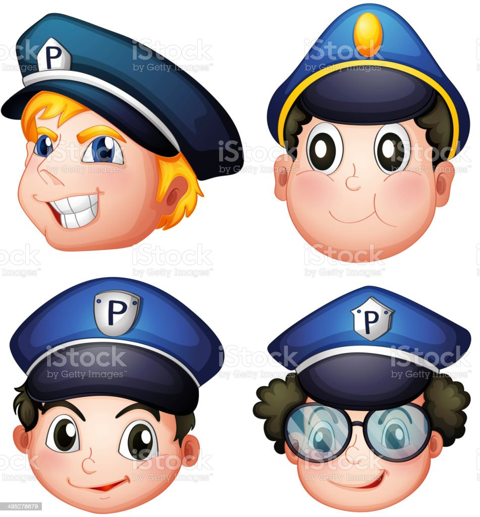 Head of four cops vector art illustration