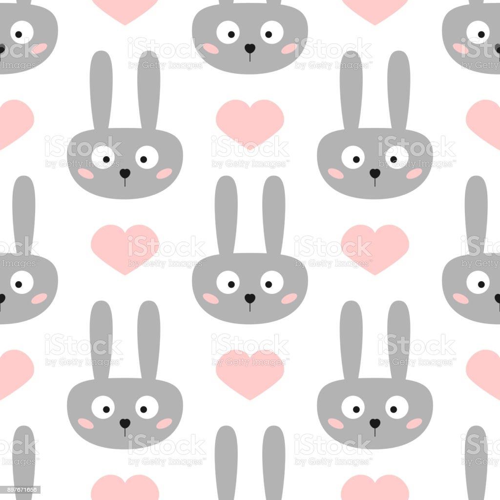 Ilustración de Cabeza De Conejo Gracioso Con Ojos Grandes Corazones ...