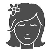 Head of girl with flower in hair solid icon, Beauty concept, spa salon logo with woman portrait sign on white background, Beautiful woman wearing flower in hair icon in glyph style. Vector