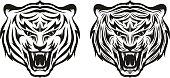Head of growling tiger tattoo