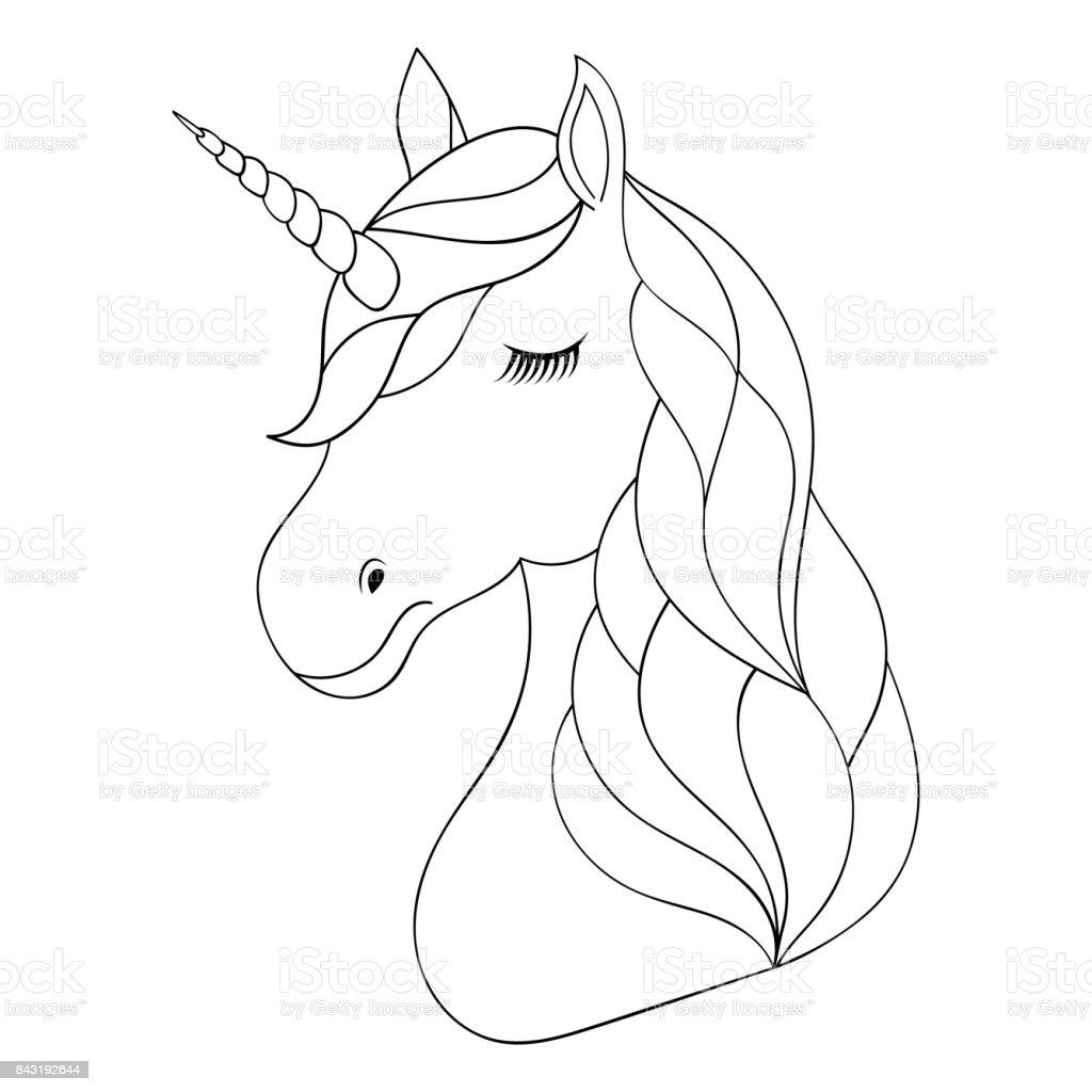 kopf von hand gezeichnete einhorn vektor illustration