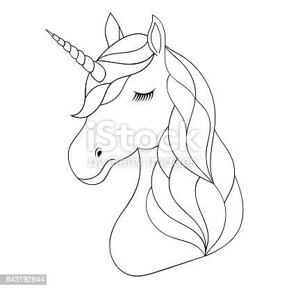 Ilustración de Cabeza De Unicornio Dibujado Mano y más banco de ...