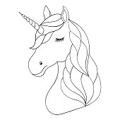 Coloring Book Page Or Print With Unicorn Christmas Seamless Pattern Head Of Hand Drawn