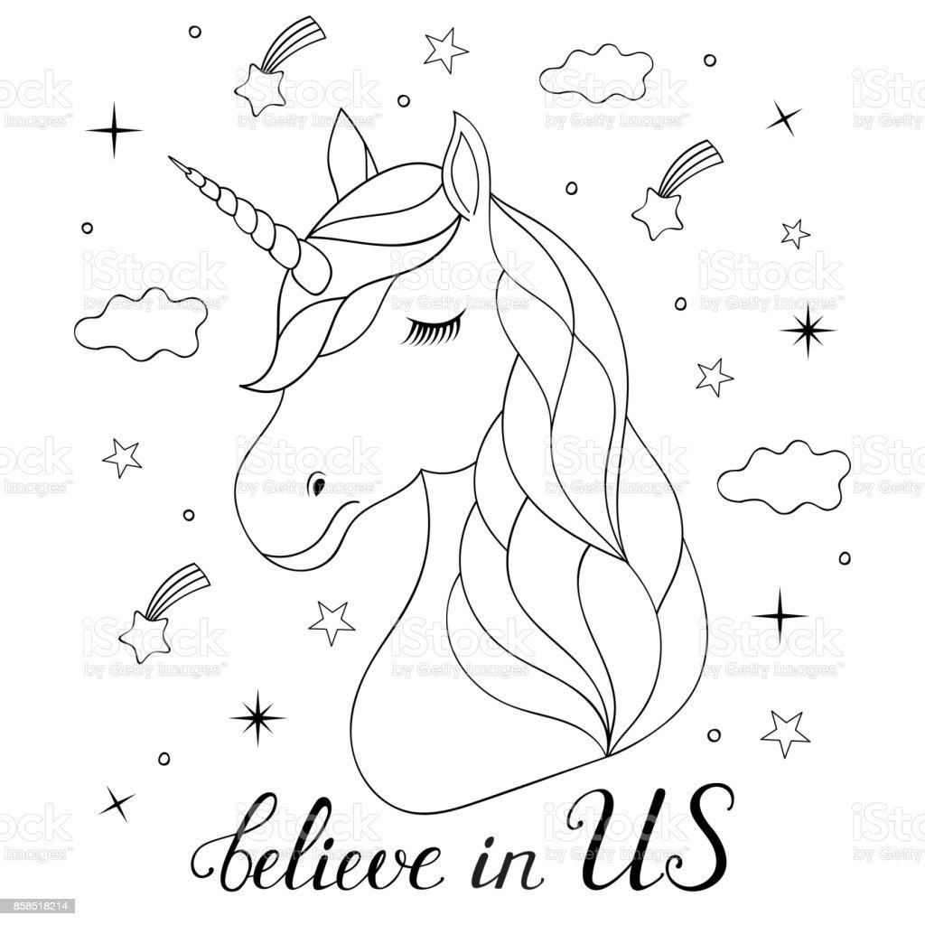 Cabeza De Unicornio Dibujado Mano - Arte vectorial de stock y más ...