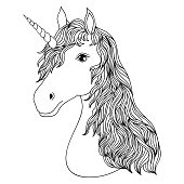 Head Of Hand Drawn Unicorn Kids Coloring Page
