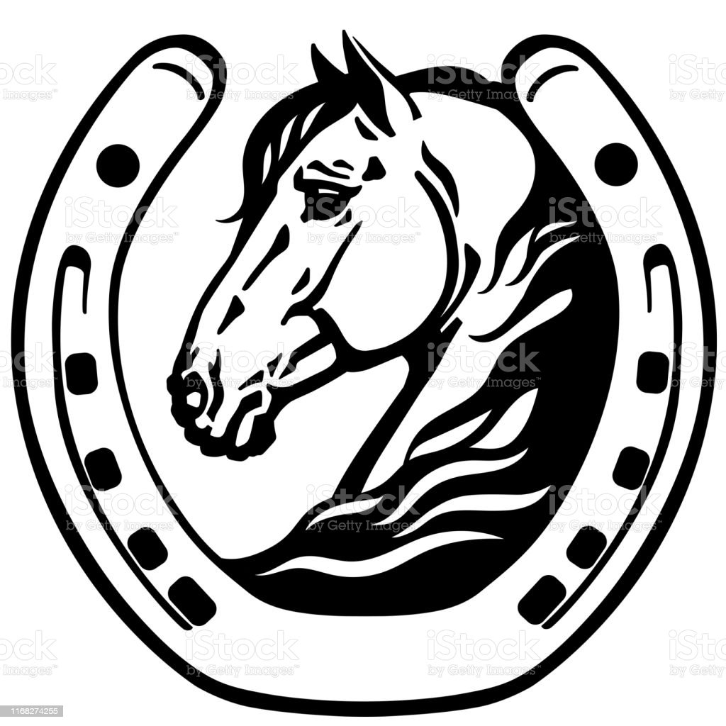 Head Of Horse In The Horseshoe Stock Illustration Download Image Now Istock