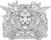 head of lion surrounded by angels