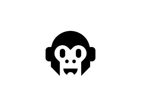 Head of Monkey vector icon. Isolated monkey face flat symbol