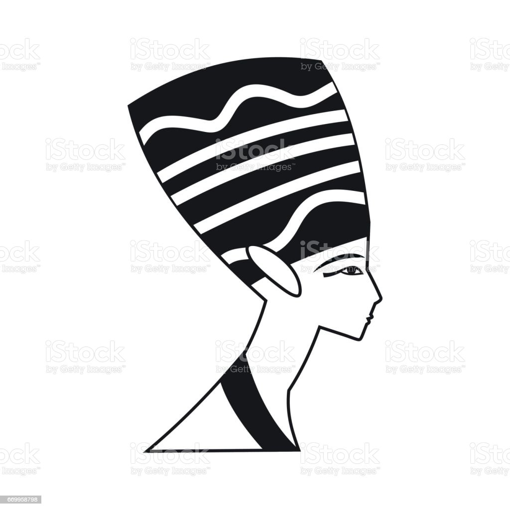 Head of Nefertiti icon in simple style vector art illustration