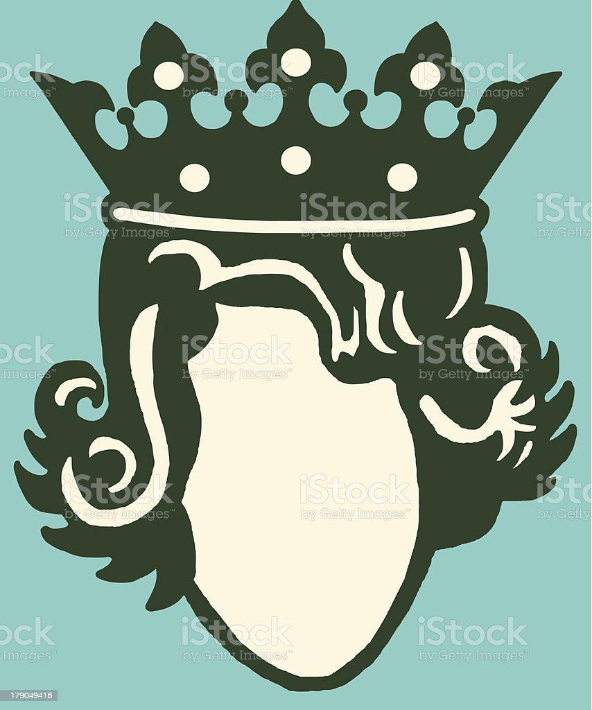 Head of Queen Wearing Crown vector art illustration