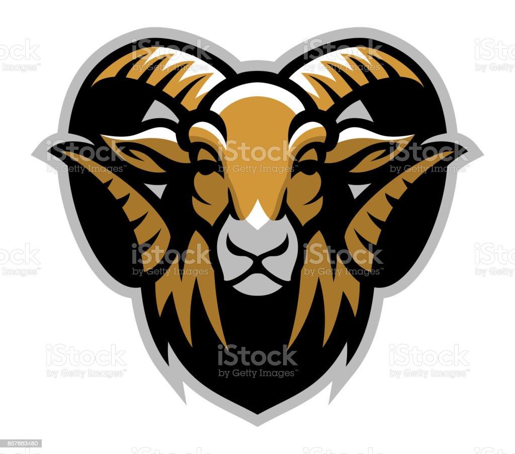 Head of ram mascot vector art illustration